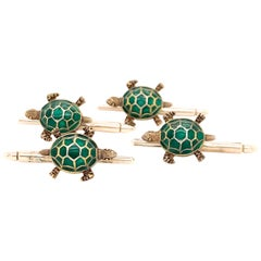 Antique Enamel and Sterling Turtle Shirt Studs
