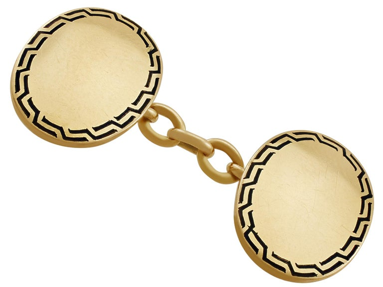 Antique Enamel and Yellow Gold Cufflinks In Excellent Condition For Sale In Jesmond, Newcastle Upon Tyne