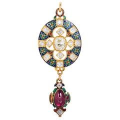 Antique Enamel Diamond and Garnet Holbeinesque Pendant, circa 1870