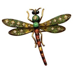 Antique Enamel Diamond Dragonfly Pin-Brooch
