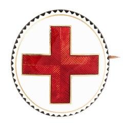 Antique Enamel Red Cross Mourning Locket Brooch