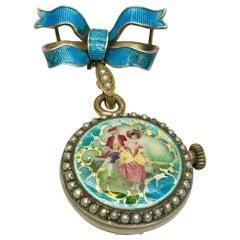 Antique Enamel, Seeded Pearl Brooch Fob Watch