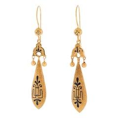 Antique Enameled Chandelier Earrings