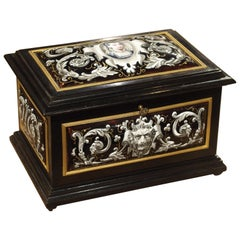 Antique Enameled Copper and Wood Table Box by Alphonse Giroux Paris, circa 1850