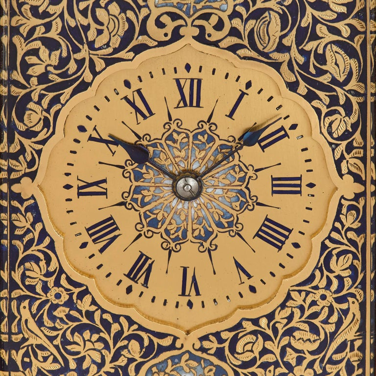 Belle Époque Antique Enameled Gilt Bronze Carriage Clock For Sale