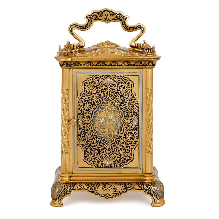 Antique Enameled Gilt Bronze Carriage Clock In Excellent Condition For Sale In London, GB
