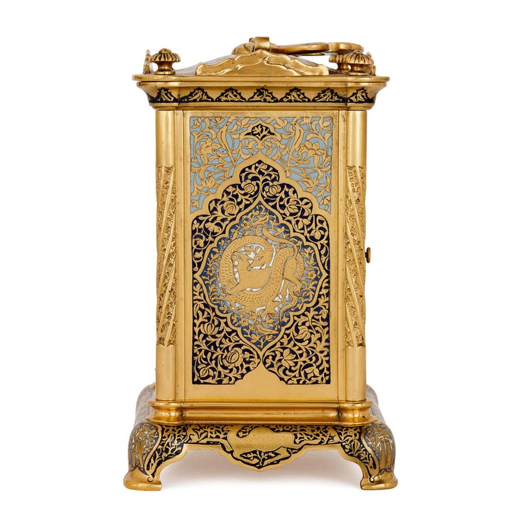 19th Century Antique Enameled Gilt Bronze Carriage Clock For Sale