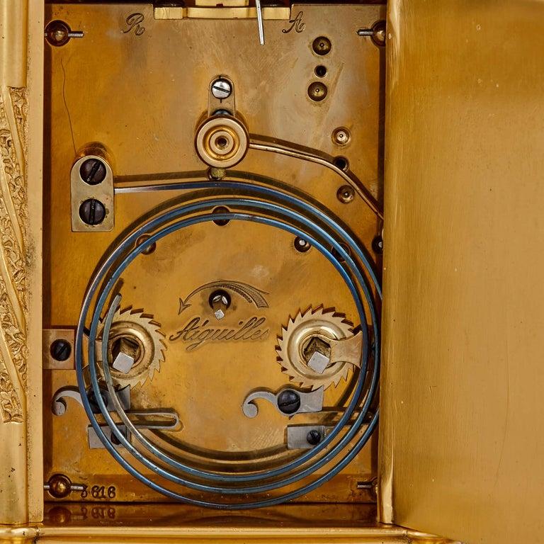 Antique Enameled Gilt Bronze Carriage Clock For Sale 1