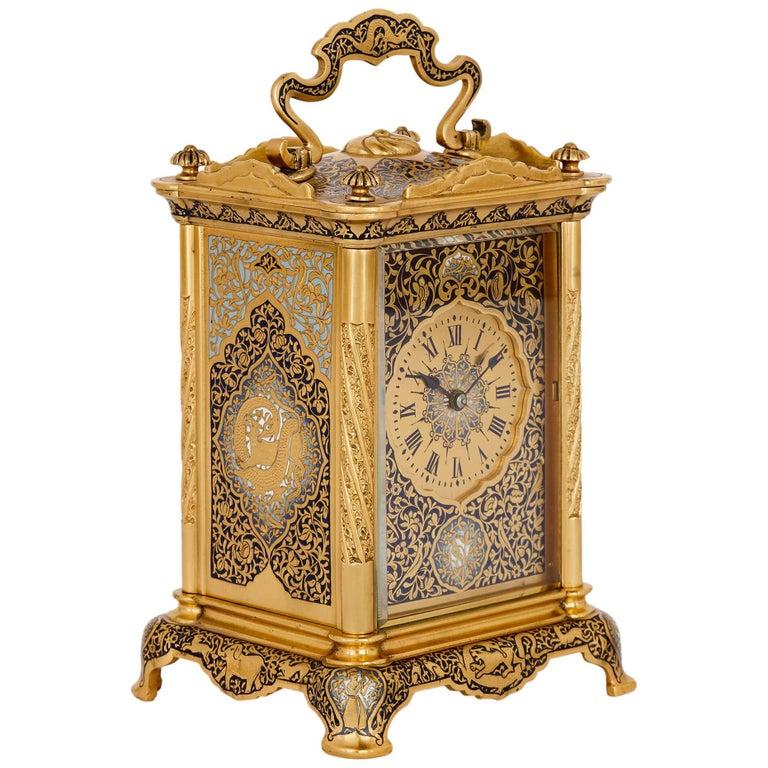 Antique Enameled Gilt Bronze Carriage Clock For Sale