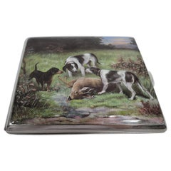 Antique Enameled Hunt-Themed Cigarette Case with Hounds and Elk