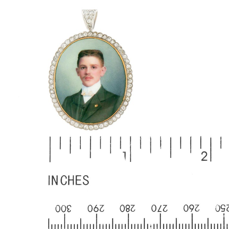 Antique Enameled Portrait Pin-Pendant For Sale 2