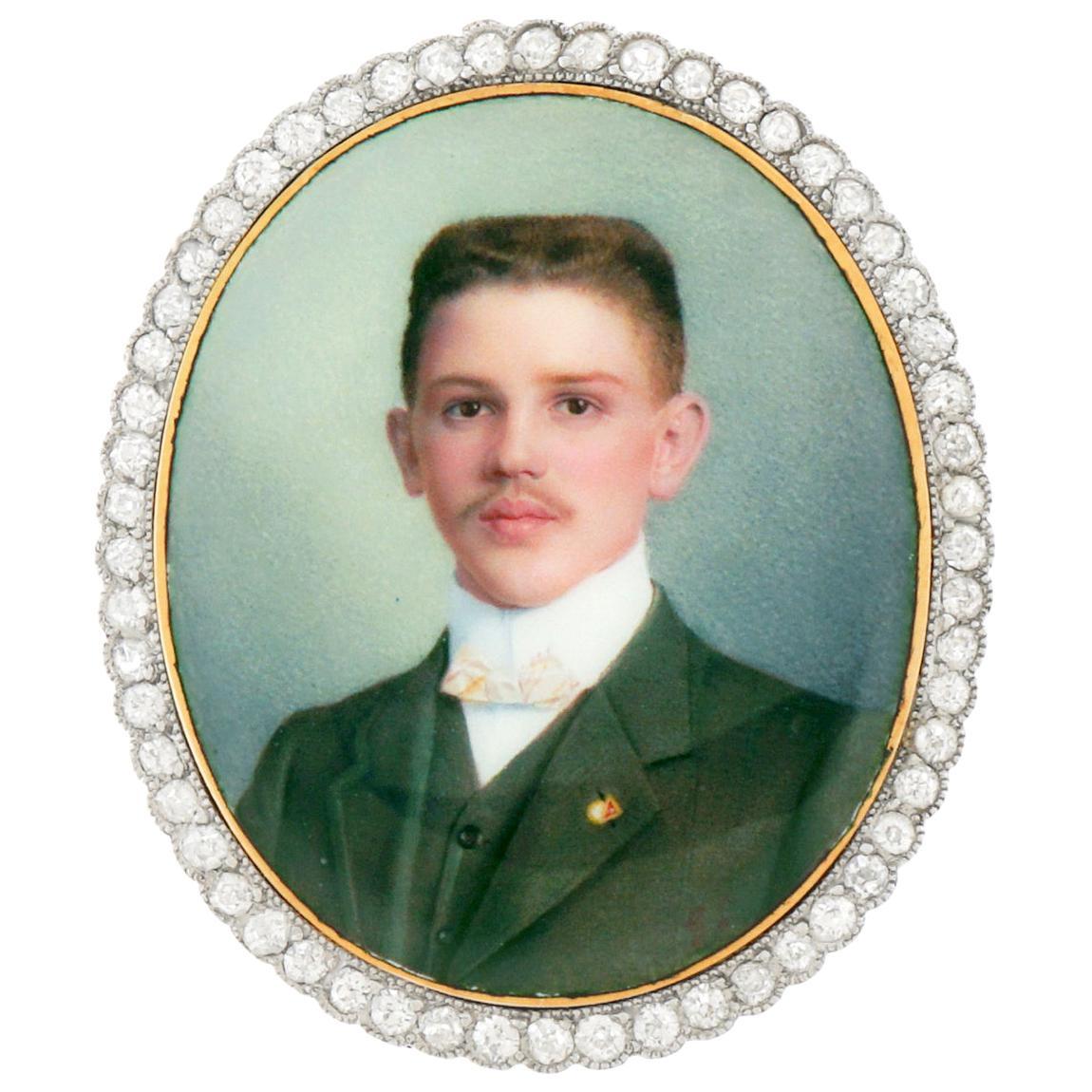 Antique Enameled Portrait Pin-Pendant