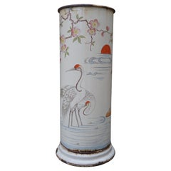 Antique Enameled Umbrella and Stick Stand with Hand Painted Japanese Crane Birds