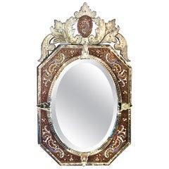 Antique Enameled Venetian Mirror