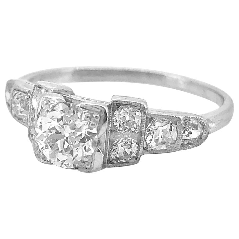 Antique Engagement Rings For Sale: Antique Engagement Ring .60 Carat Diamond And Platinum Art