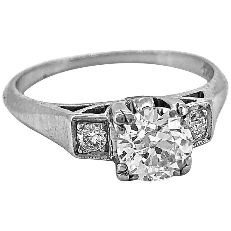 Antique Engagement Rings For Sale: Antique Engagement Ring .75 Carat Diamond And Platinum Art