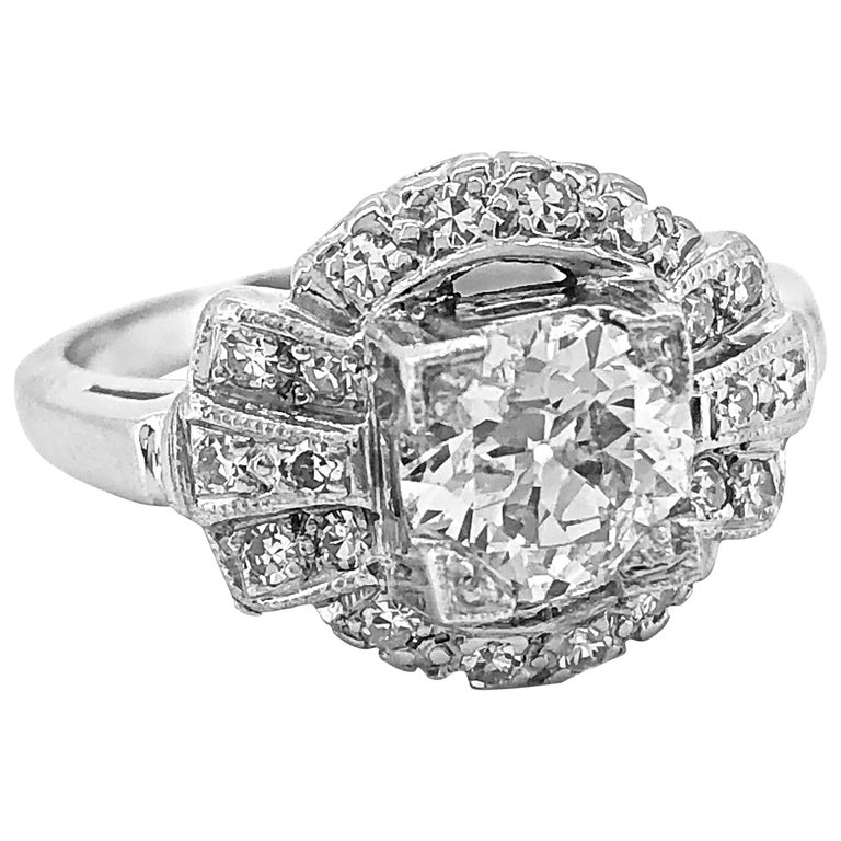 Antique Engagement Rings For Sale: Antique Engagement Ring .95 Carat Diamond And White Gold