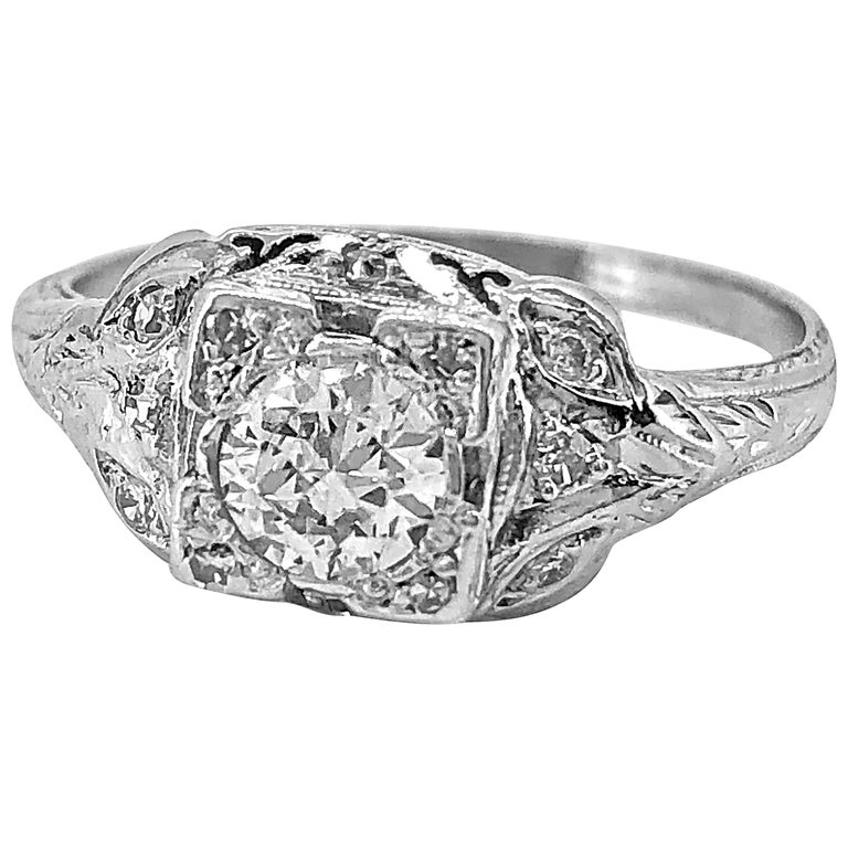 Antique Engagement Rings For Sale: Antique Engagement Ring Art Deco Platinum And .42 Carat