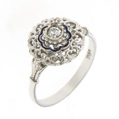Antique Engagement White Gold Diamond Filigree Blue Enamel Ring