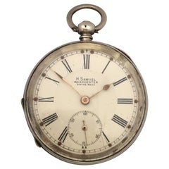 Antique Engine Turned Case Silver Key-Winding Pocket Watch