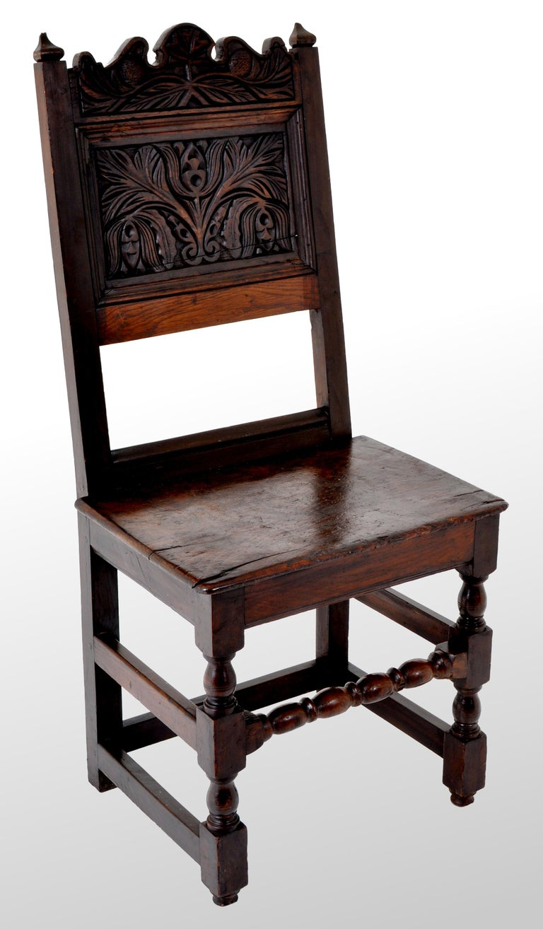 Antique English 17th Century Jacobean Carved Oak Joined Chair, circa 1640 In Good Condition For Sale In Portland, OR
