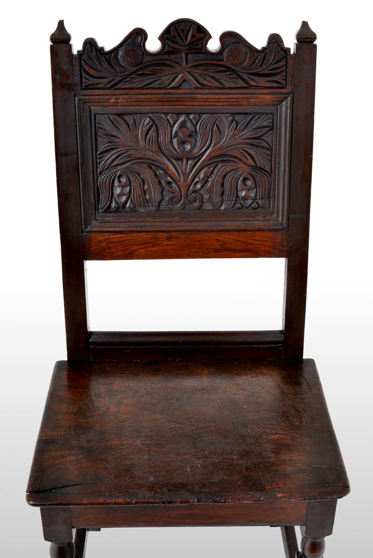 Antique English 17th Century Jacobean Carved Oak Joined Chair, circa 1640 For Sale 2