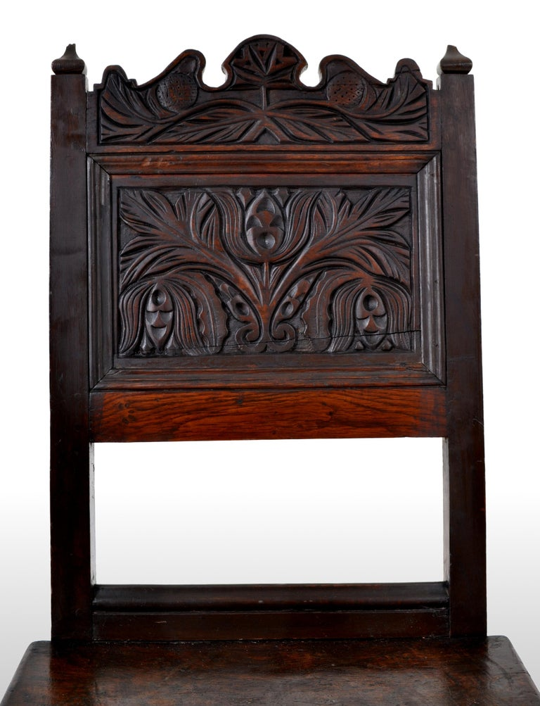 Antique English 17th Century Jacobean Carved Oak Joined Chair, circa 1640 For Sale 3