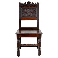 Antique English 17th Century Jacobean Carved Oak Joined Chair, circa 1640