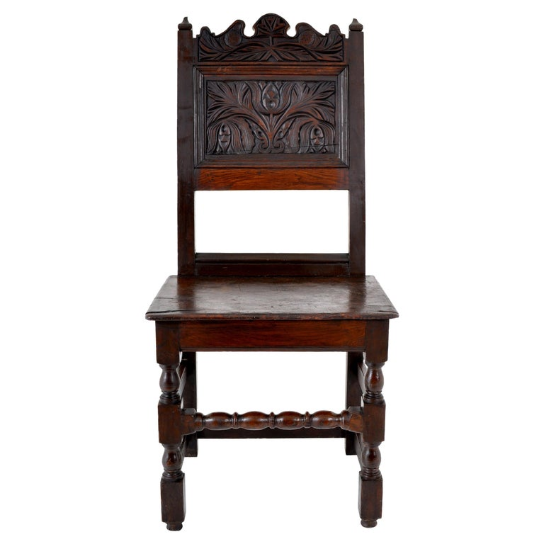Antique English 17th Century Jacobean Carved Oak Joined Chair, circa 1640 For Sale