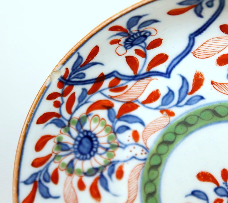 Hand-Painted Antique English 18th Century Rare First Period Worcester Porcelain Saucer Dish For Sale