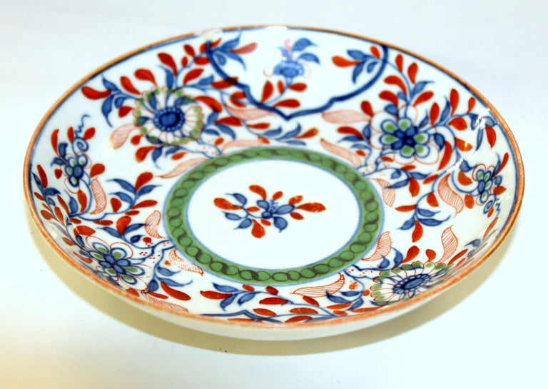 Antique English 18th Century Rare First Period Worcester Porcelain Saucer Dish In Good Condition For Sale In Charleston, SC