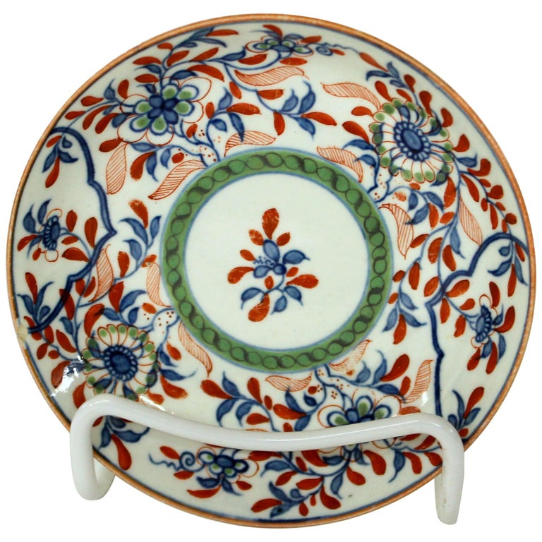 Antique English 18th Century Rare First Period Worcester Porcelain Saucer Dish For Sale