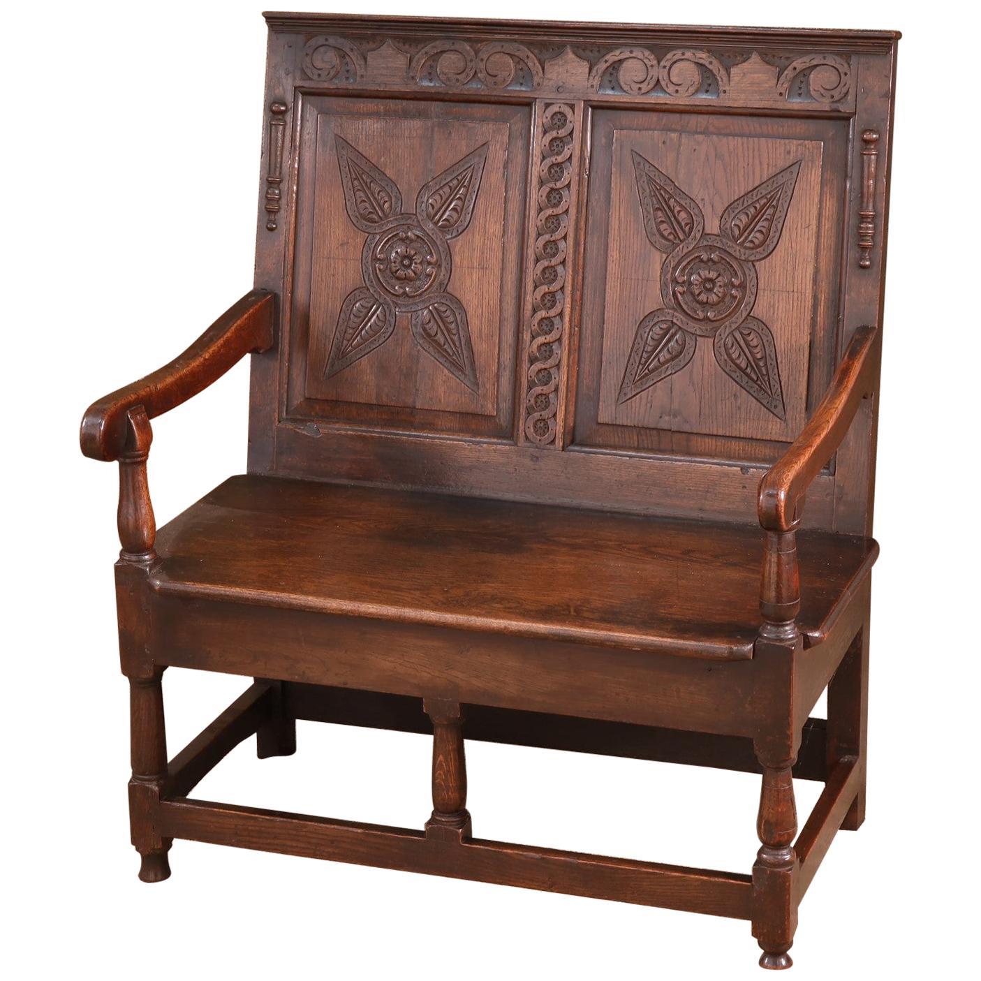 Antique English 19th Century 2-Seat Oak Settle