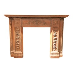 Antique English 19th Century Carved Wood Mantel, Grinling Gibbons Style Carving