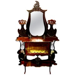 Antique English 19th Century Hand Carved Mahogany What Not with Vitrine