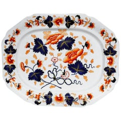 Antique English 19th Century J. Rogers Ironstone Very Large Imari Decor Platter
