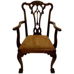 Antique English 19th Century Mahogany Carved Armchair