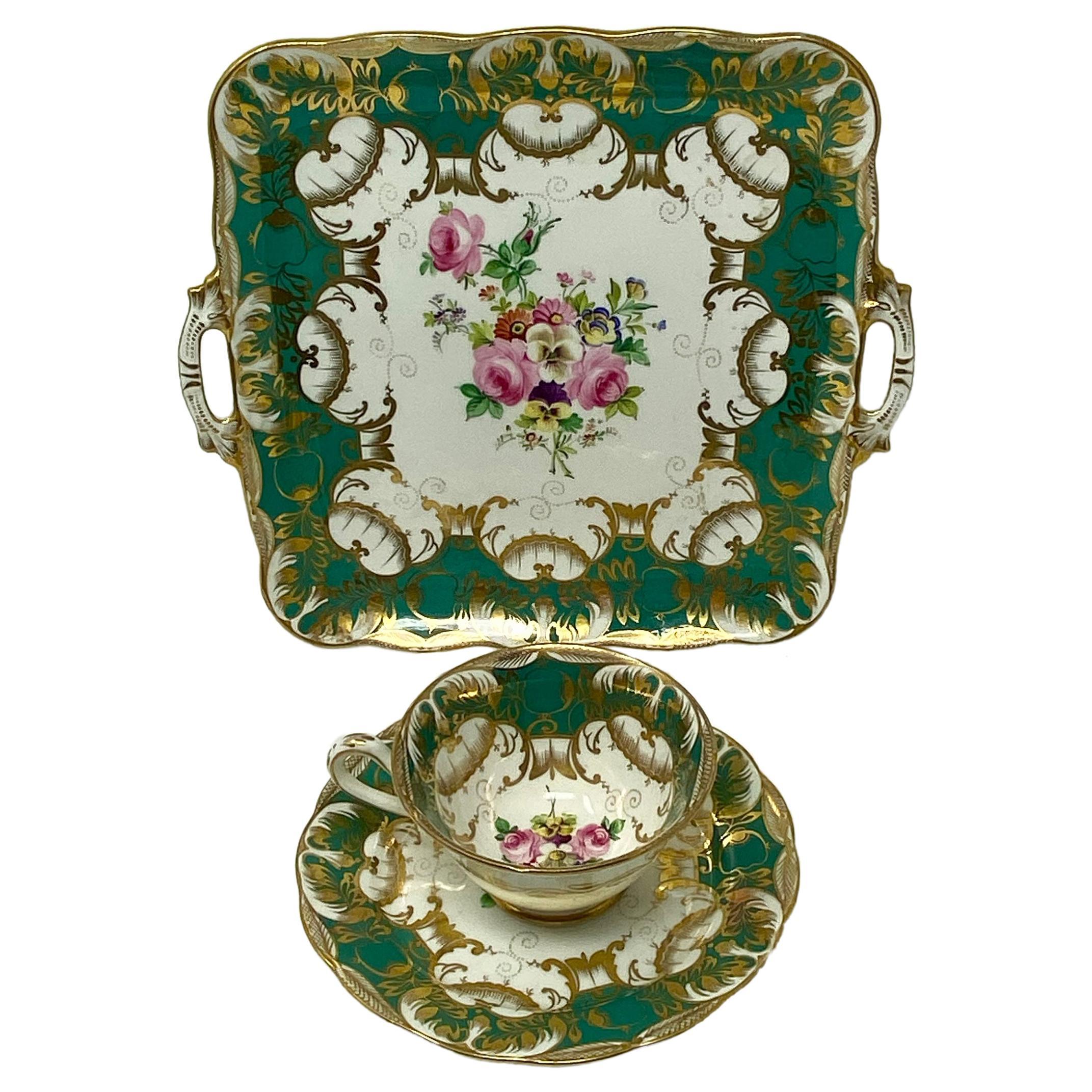 Antique English 19th Century Porcelain Dessert and Coffee Set