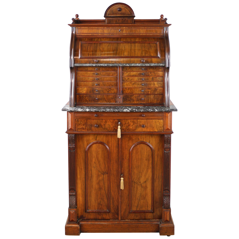 Antique English 19th Century Victorian Burr Walnut Dentist's Collector's Cabinet