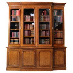 Antique English 19th Century William IV Oak Breakfront Bookcase