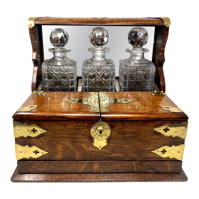 Antique English 3 Bottle Tantalus, Games Box & Smoker's Compendium, Circa 1890s