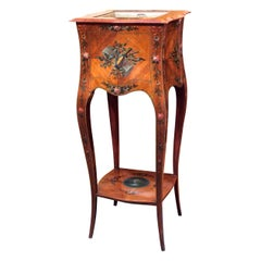 Antique English Adam Design Satinwood with Inlay Jardinière, circa 1880