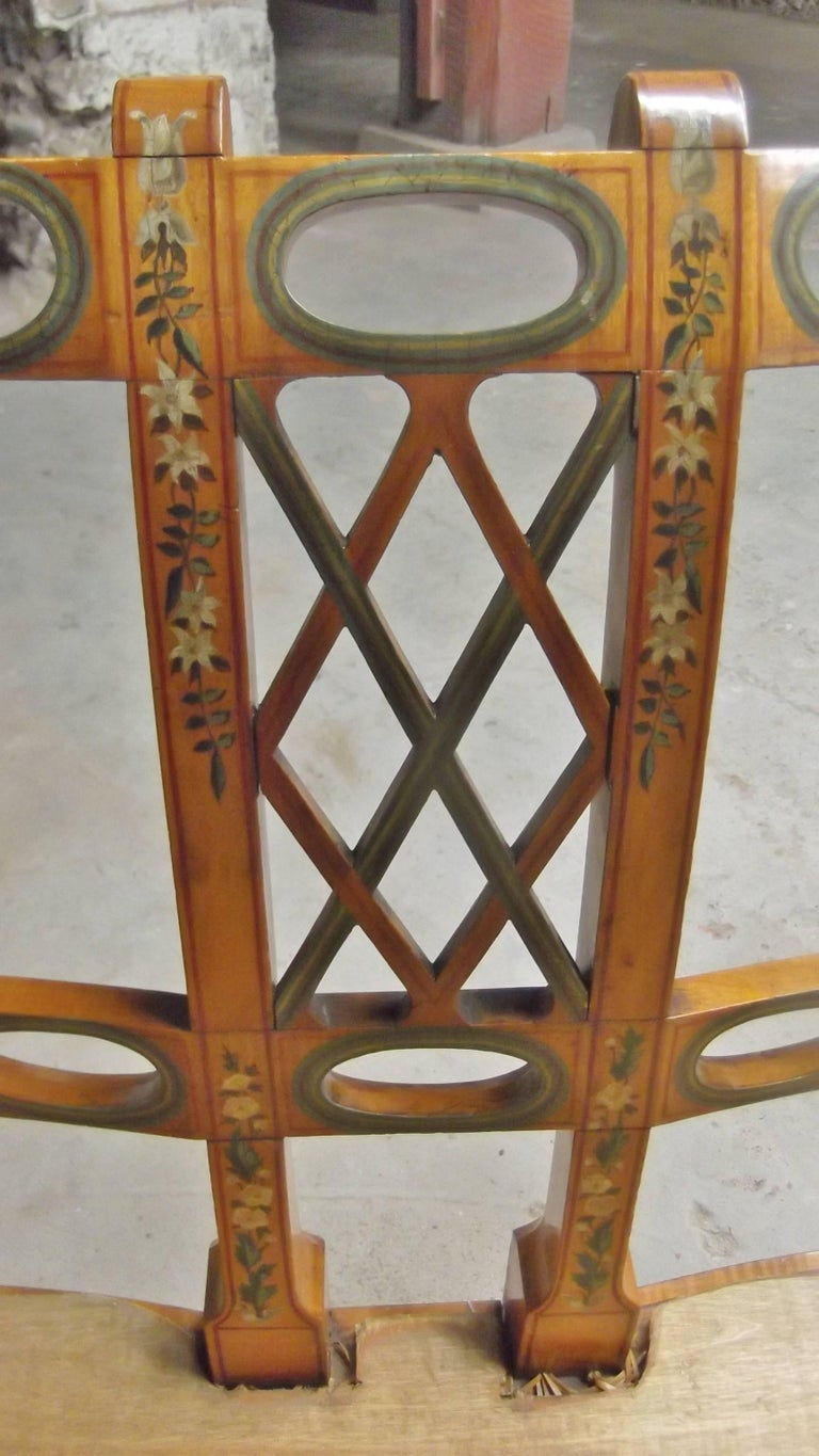 19th Century Antique English Adam Style Settee with Hand Painted Decoration For Sale