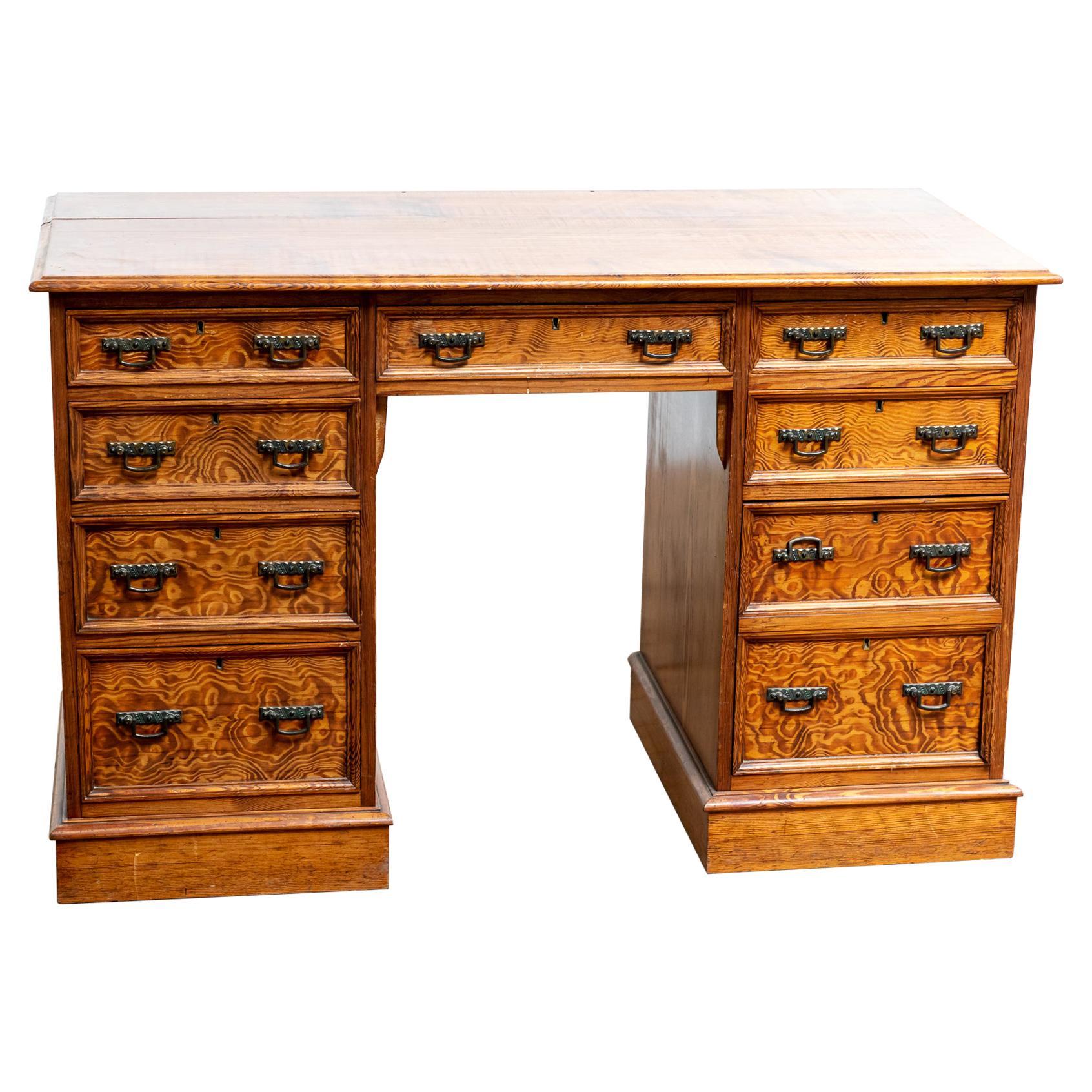 Antique English Aesthetic Movement 19th Century Oregon Pine Desk