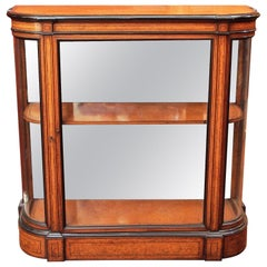 Antique English Amboyna Wood, Mirror and Curved Glass Credenza, circa 1880