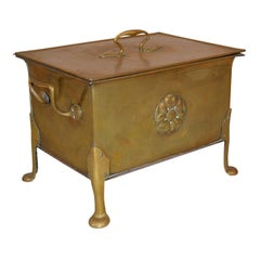 Antique English Arts & Crafts Brass Kindling Fire Box, Circa 1900