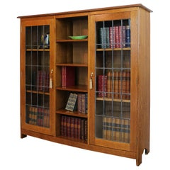Antique English Arts & Crafts Oak Bookcase Cabinet attributed to Liberty & Co