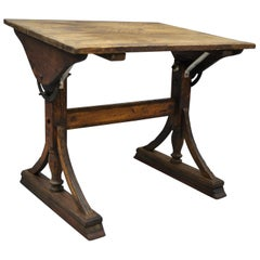 Antique English Arts & Crafts Oak Wood Drafting Work Table Desk Stand