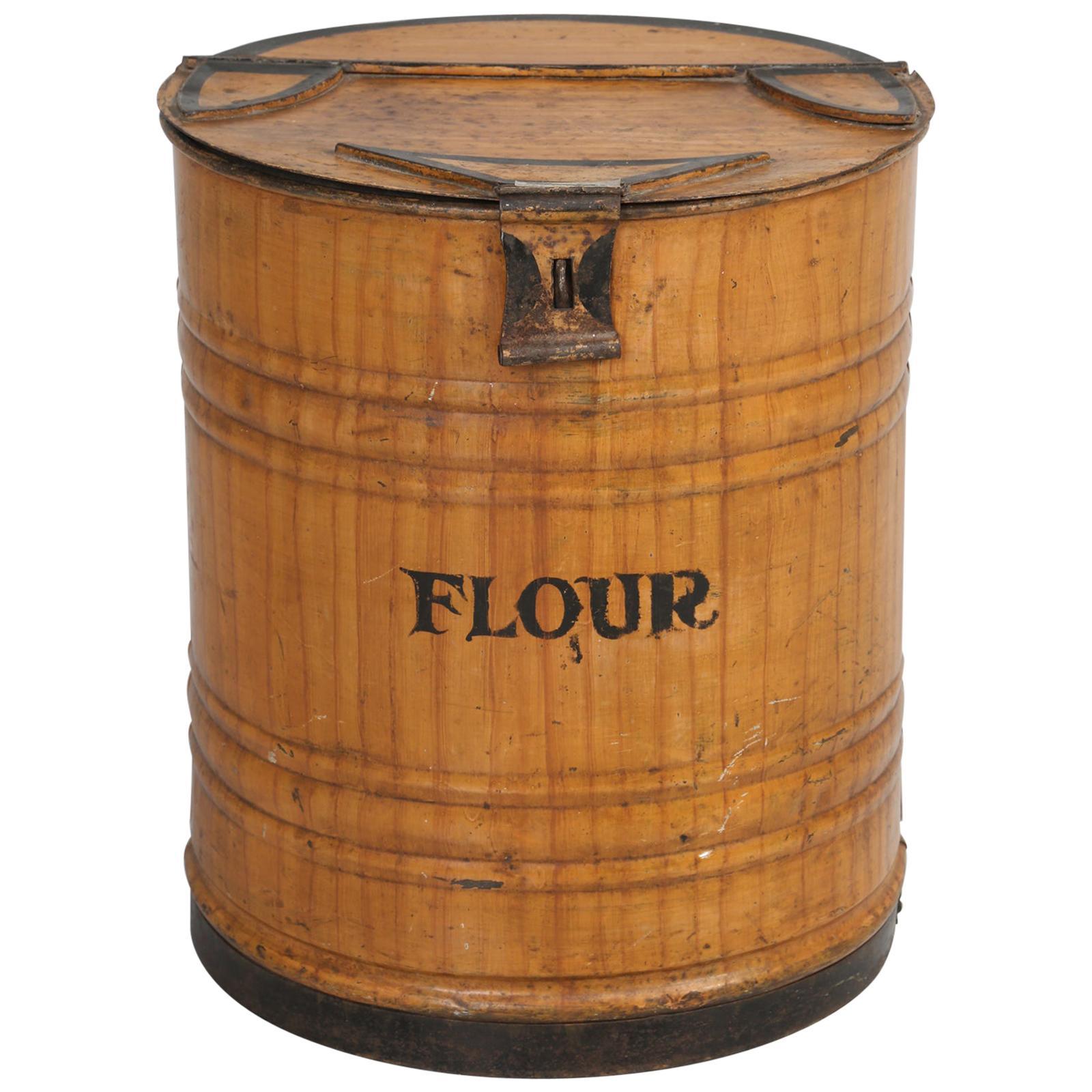 """Antique English Bakery or Mecantile """"Flour"""" Bin, in Original Faux Grain Paint"""