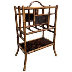 Antique English Bamboo Canterbury Magazine Rack Music Stand Table Chinoiserie